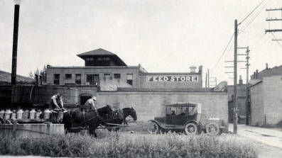 item thumbnail for Team of horses and wagon loaded with cream cans. Creamery. Blackfoot, Idaho.