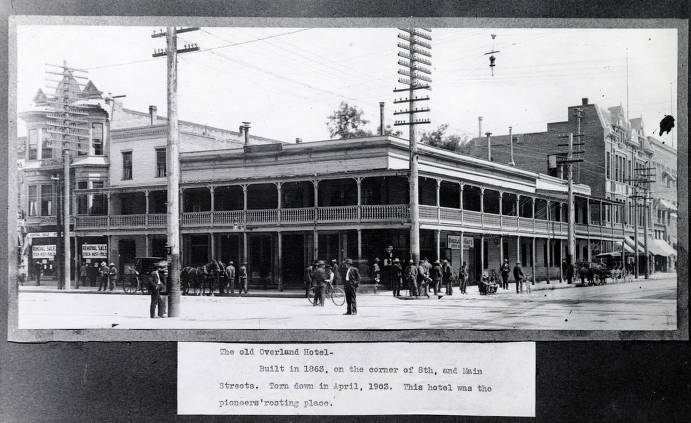 item thumbnail for Overland Hotel (1863-1903) on corner of 8th and Main Streets. Boise, Idaho.