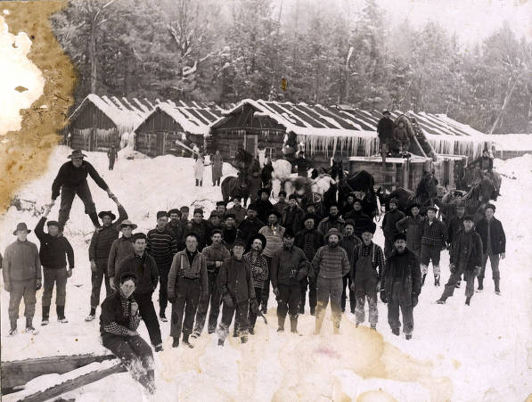 item thumbnail for Loggers and living quarters at Hunicker Logging Camp. Near Elk River, Idaho.