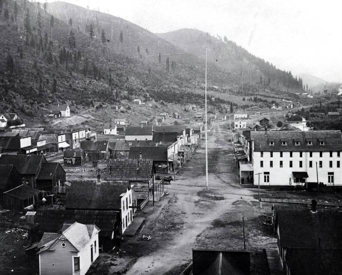 item thumbnail for Looking east on Earle Street toward the Gold Hunter Mill. Mullan, Idaho.