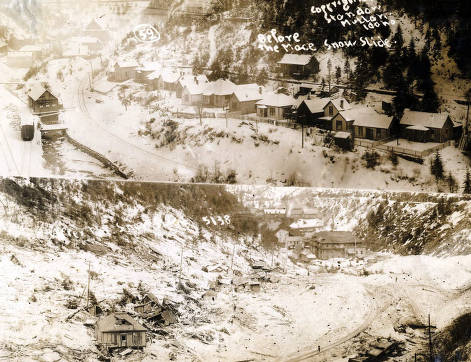item thumbnail for View of Mace, Idaho before and after the snowslide.