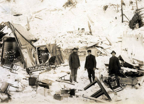 item thumbnail for Home of Mr. Abe Winchester demolished by snowslide. Mace, Idaho.
