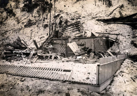 item thumbnail for W.M. Newton home demolished by snowslide. Mace, Idaho.