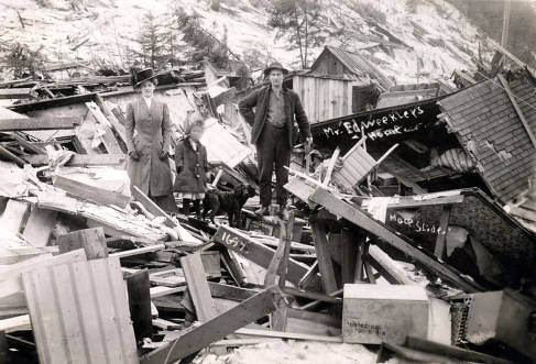 item thumbnail for Ed Weekler home demolished by snowslide. Mace, Idaho.