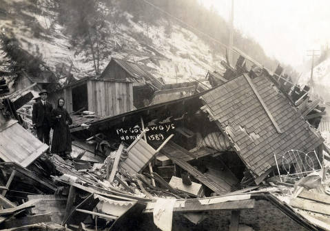 item thumbnail for Mr. Cassaway home demolished by snowslide. Mace, Idaho.