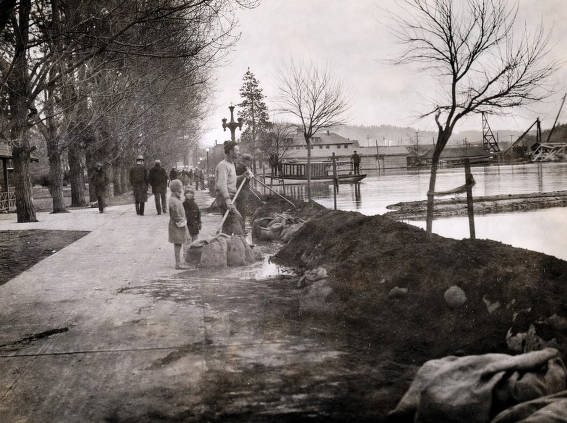 item thumbnail for View of flood from lake front at City Park looking east. Coeur d'Alene, Idaho.