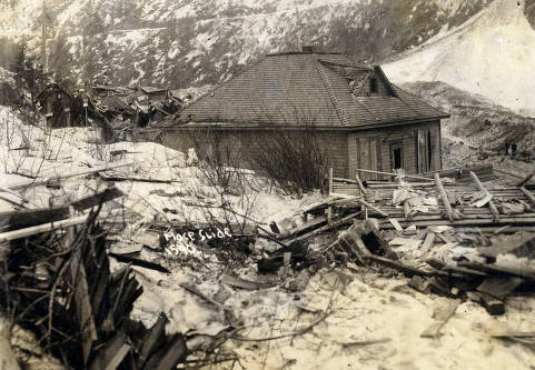 item thumbnail for Homes demolished by snowslide. Mace, Idaho.