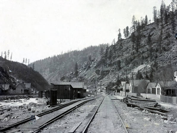 item thumbnail for View looking down railroad tracks. Gem, Idaho.