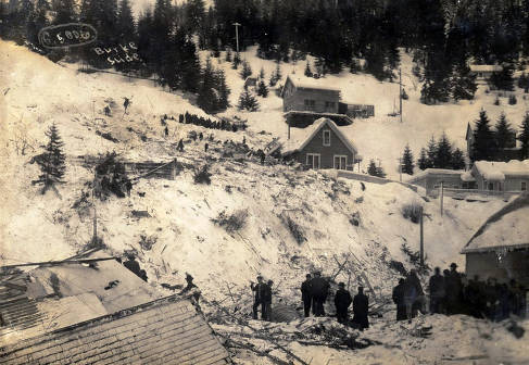 item thumbnail for Group of people gathered at Hercules Mine after snowslide. Burke, Idaho.