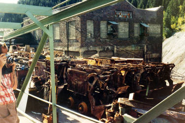 item thumbnail for Ore cars brought out preparatory to closing the mine in 1982. Star Mine. Burke, Idaho.