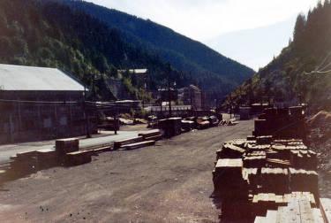 item thumbnail for Taken in yard, showing piles of lumber. Star Mine. Burke, Idaho.