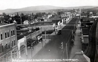 item thumbnail for Main Street looking south from top of Hotel Moscow. Moscow, Idaho.