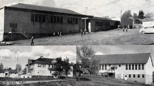 item thumbnail for Composite of Potlatch public schools: elementary, Jr. high and high school buildings. Potlatch, Idaho.