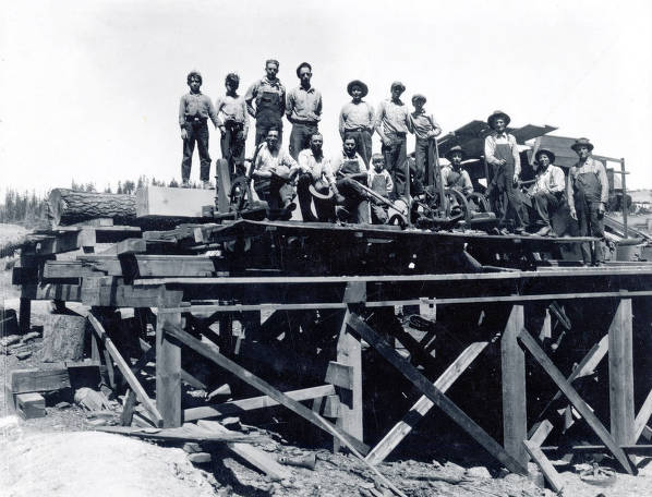 item thumbnail for Group of men working on a bridge? Troy, Idaho?