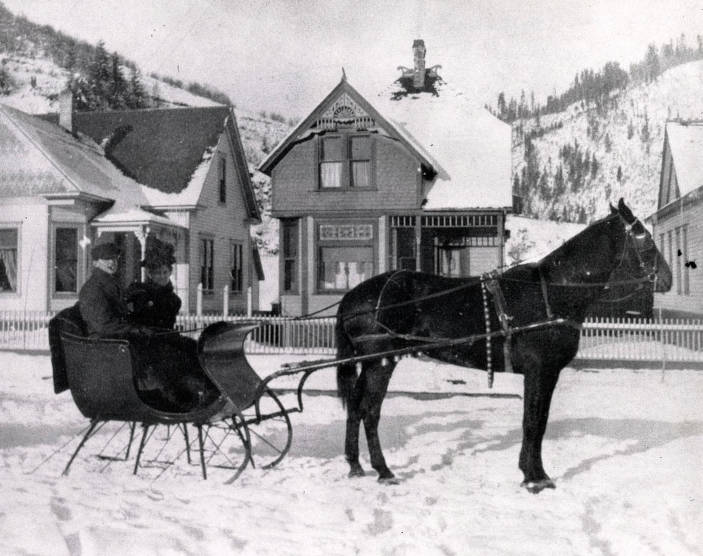 item thumbnail for Couple seated on horse-drawn sleigh. Wallace, Idaho?