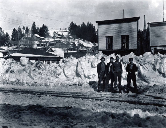item thumbnail for Four men standing on Main Street in winter. Troy, Idaho.