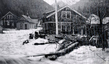 item thumbnail for Peel Home during Placer Creek Flood. Wallace, Idaho.