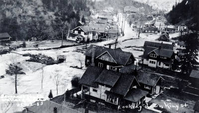 item thumbnail for Looking up King Street from the junction of Placer Creek on the main South Fork of the Coeur D'Alene River. Placer Creek Flood. Wallace, Idaho.