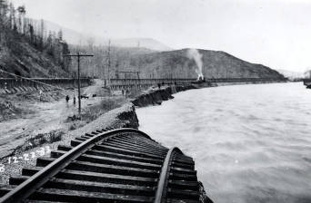 item thumbnail for Railroad tracks washed away by Placer Creek Flood. Wallace, Idaho.