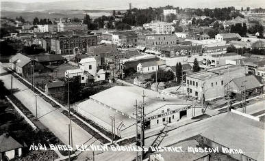 item thumbnail for Birdseye view of business district from corner of 6th and Jackson Streets. Moscow, Idaho.