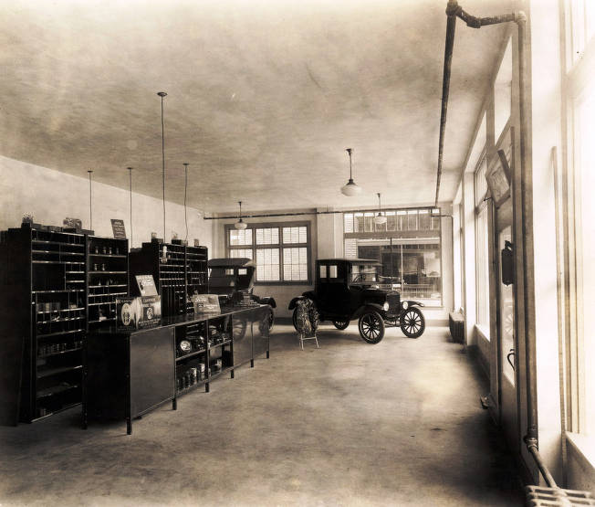 item thumbnail for Interior of showroom. C.E. Haines Ford Garage. Wallace, Idaho.