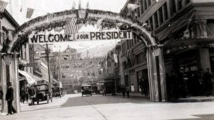 item thumbnail for Street decorated for President Theodore Roosevelt's visit. Wallace, Idaho.