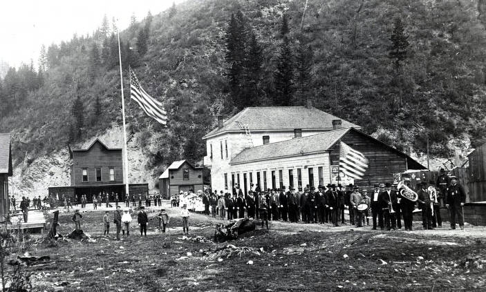 item thumbnail for View of 4th of July parade looking north on 7th Street toward fire station. Wallace, Idaho.