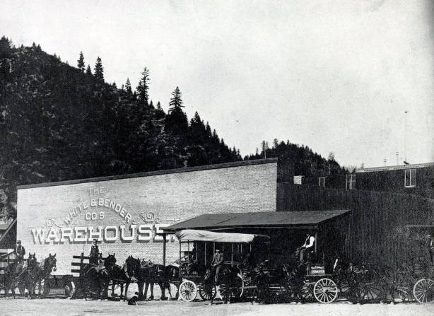 item thumbnail for Horse-drawn delivery wagons of George K. Garrett Transfer and Coal beside the White & Bender Co.'s Warehouse. Wallace, Idaho.