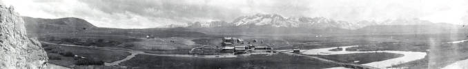 item thumbnail for Copy print of panoramic view of old Stanley Hotel.  Stanley, Idaho.