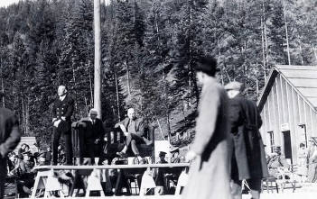 item thumbnail for Commanding officer speaking to group. CCC camp-Camp Harry Marsh, F-30, Co. 967. Prichard, Idaho.