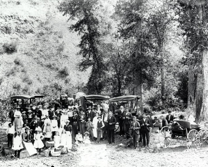item thumbnail for Group gathered for baptizing in Lawyer's Canyon.