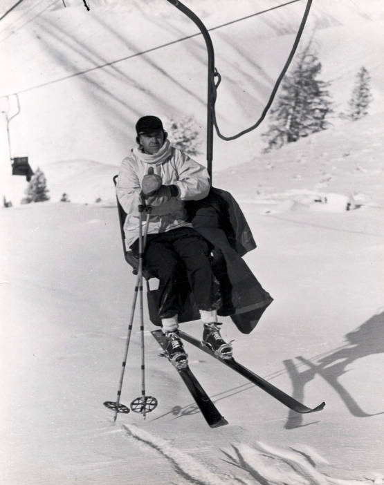 item thumbnail for Averell Harriman, founder of Sun Valley, riding Proctor Mountain chairlift. Sun Valley, Idaho.