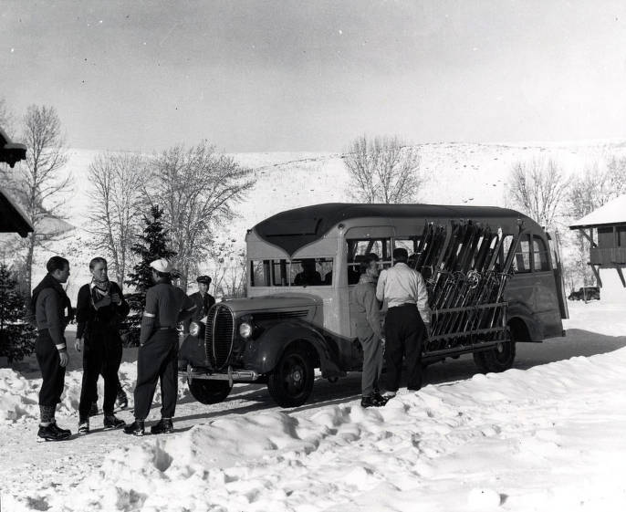 item thumbnail for First ski bus that went between lodge and Dollar and Proctor Mountains.