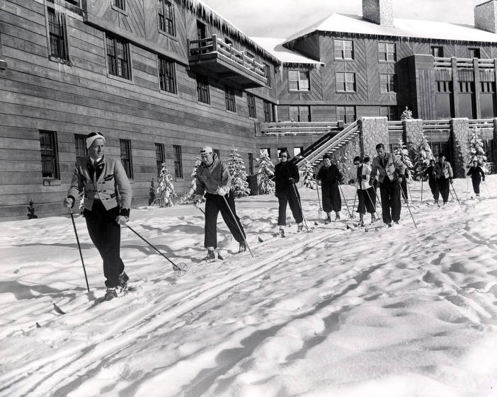 item thumbnail for Ski class leaving lodge. Sun Valley, Idaho.
