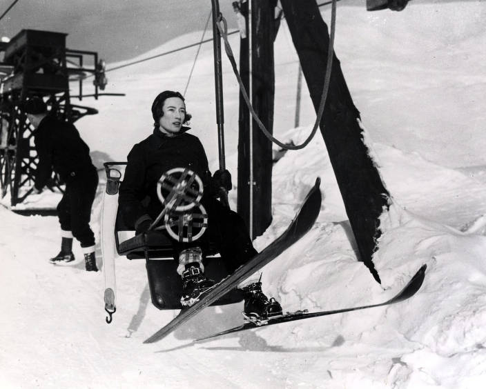 item thumbnail for Guest riding lift on Proctor Mountain.