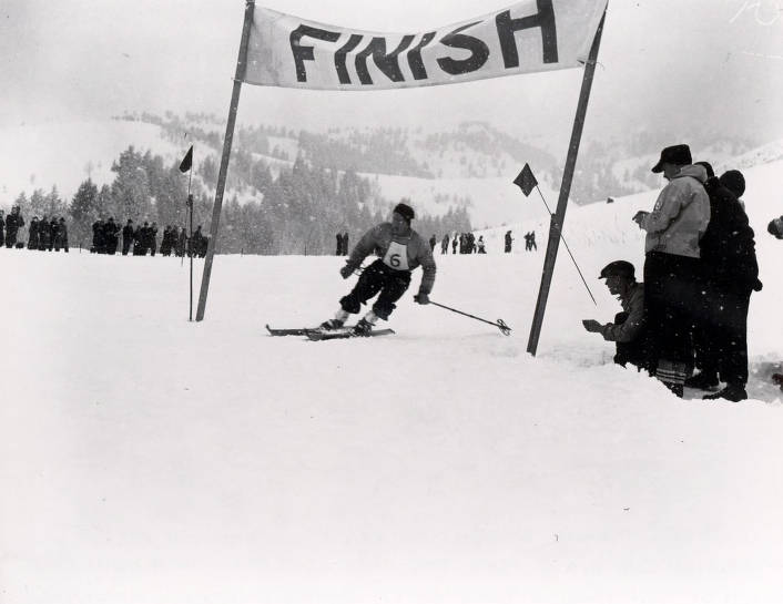 item thumbnail for Dick Durrance, Dartmouth skier, winning the first Harriman Cup Race. Sun Valley, Idaho.