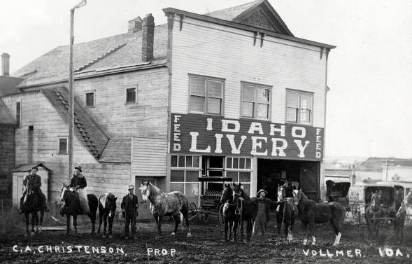 item thumbnail for Men with horses in front of Idaho Livery. Vollmer, Idaho.