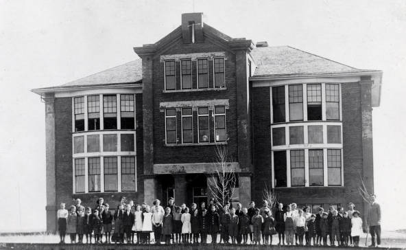 item thumbnail for Group standing in front of Vollmer School. Vollmer, Idaho.
