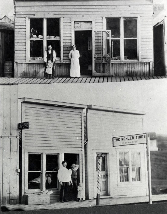 item thumbnail for Two views of Mohler Times Building. Mohler, Idaho.