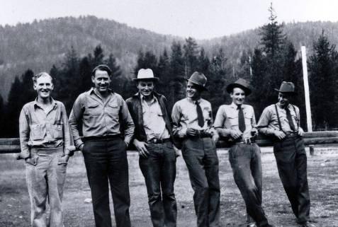 item thumbnail for Dixie Ranger Station crew. L-R: Everett Knapp, Ranger Jim Kauffman, Louis Baldwin, L. Del Flores, Hugh Eminger, Jim Stinehouse.