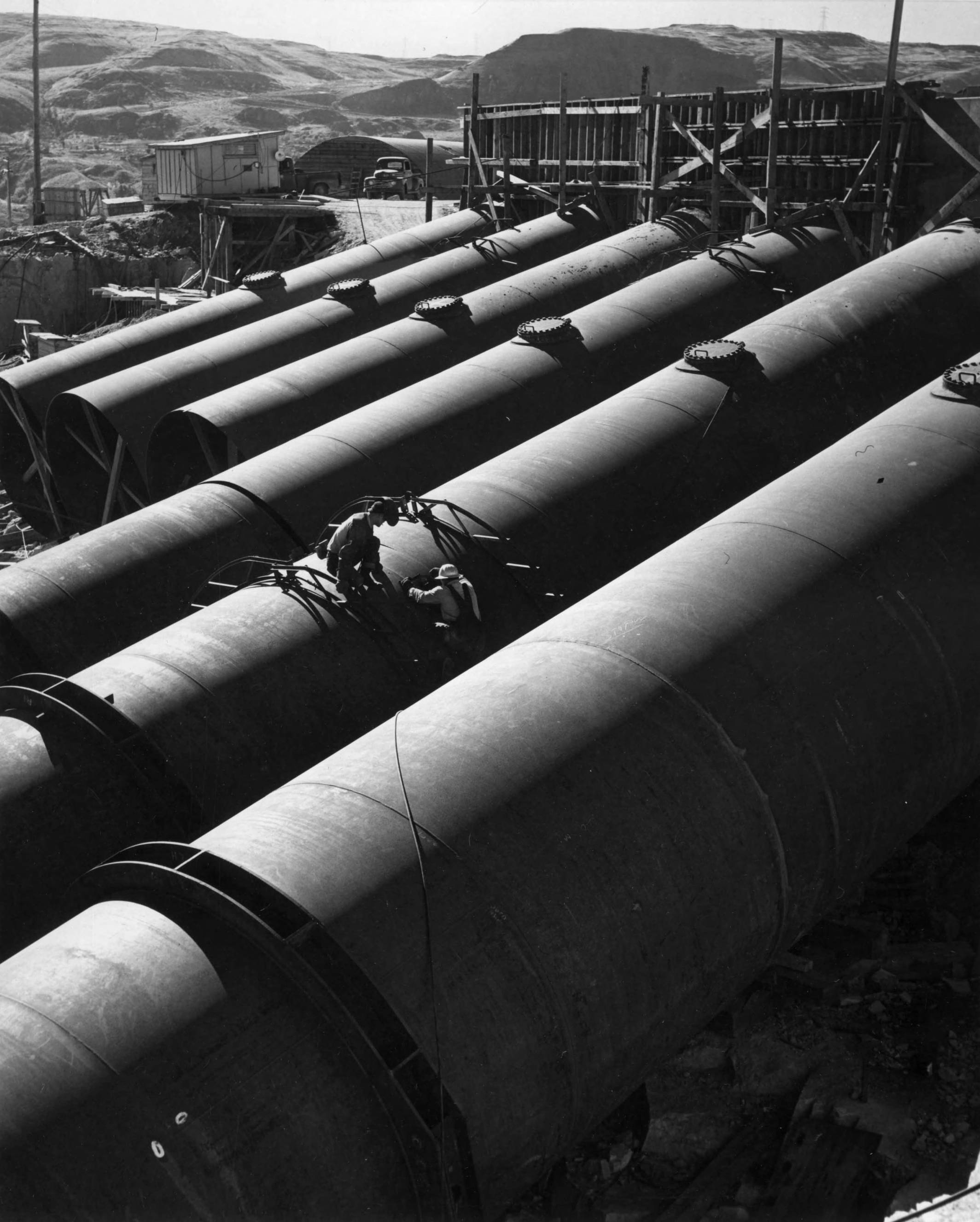 item thumbnail for View Of The Discharge Pipes (Coulee Dam irrigation pumping plant and discharge pipes)