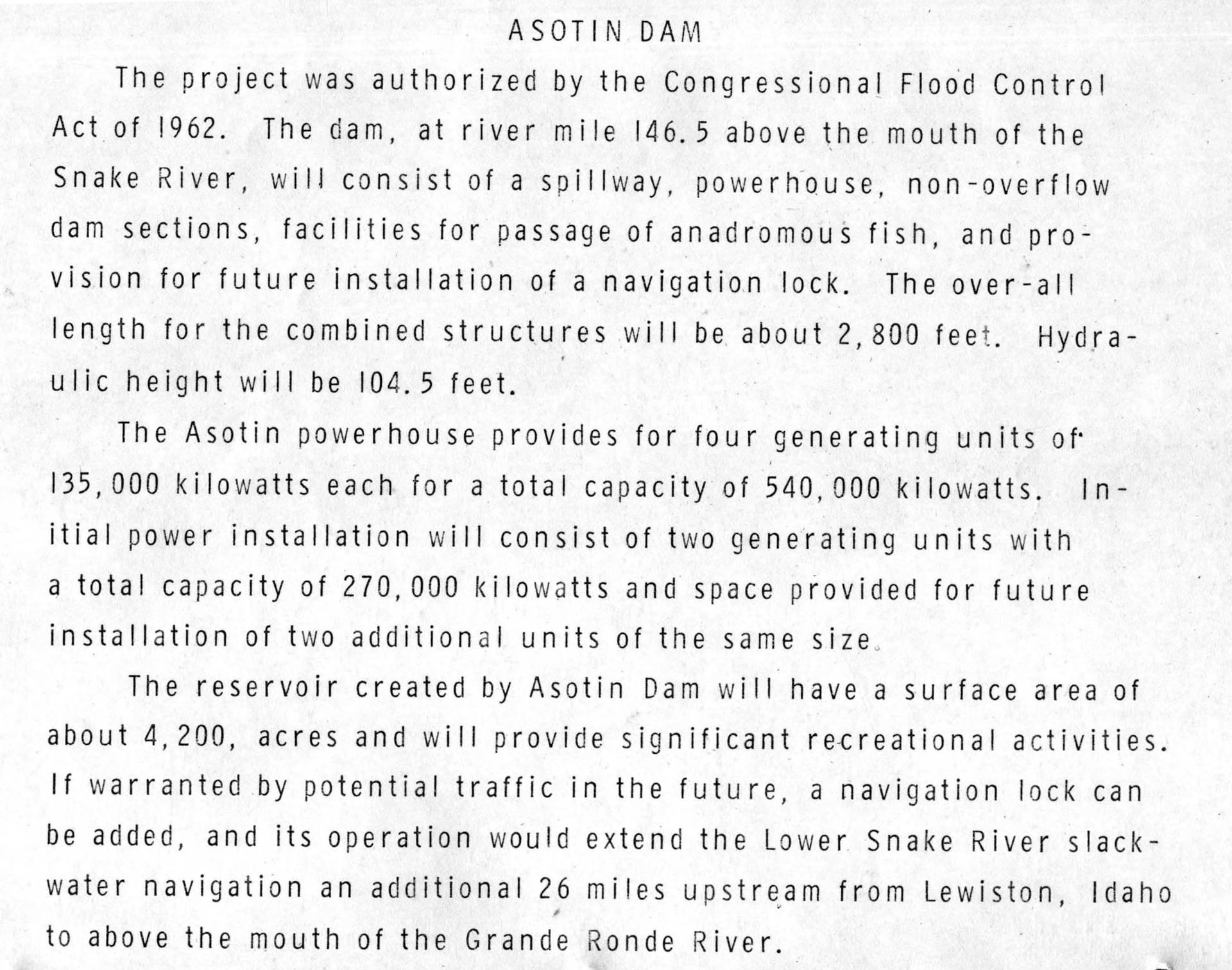 item thumbnail for Description Of Proposed Asotin Dam (Engineer recruitment program)