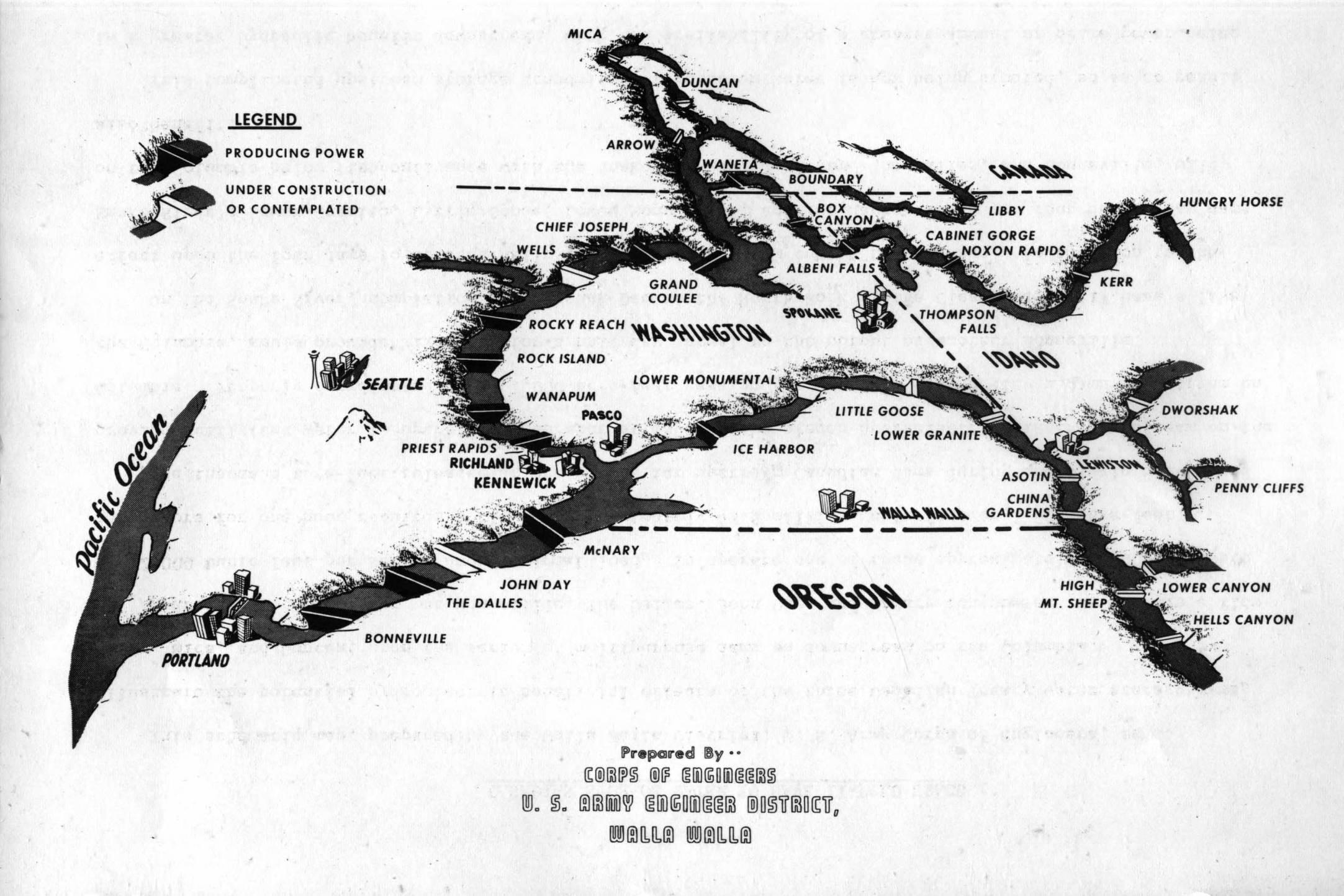 item thumbnail for Map Of Northwest Dam Construction (Engineer recruitment program)