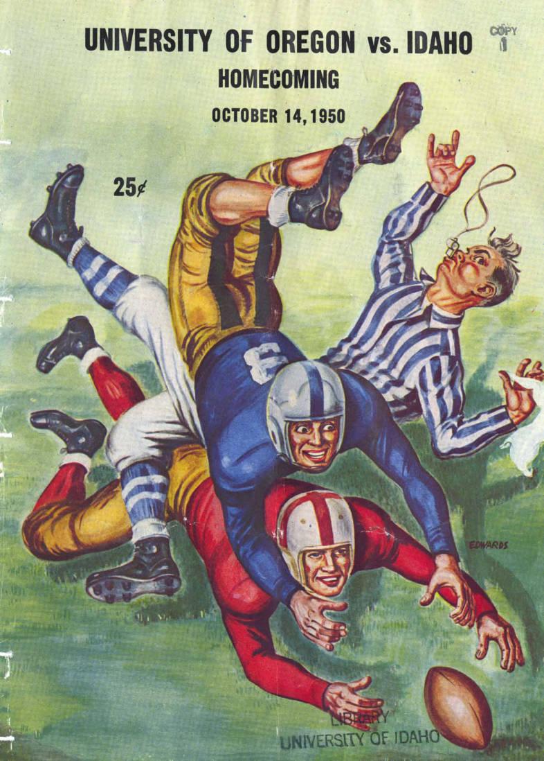 item thumbnail for Football Program: Idaho vs University of Oregon, 10/14/1950, Neale Stadium