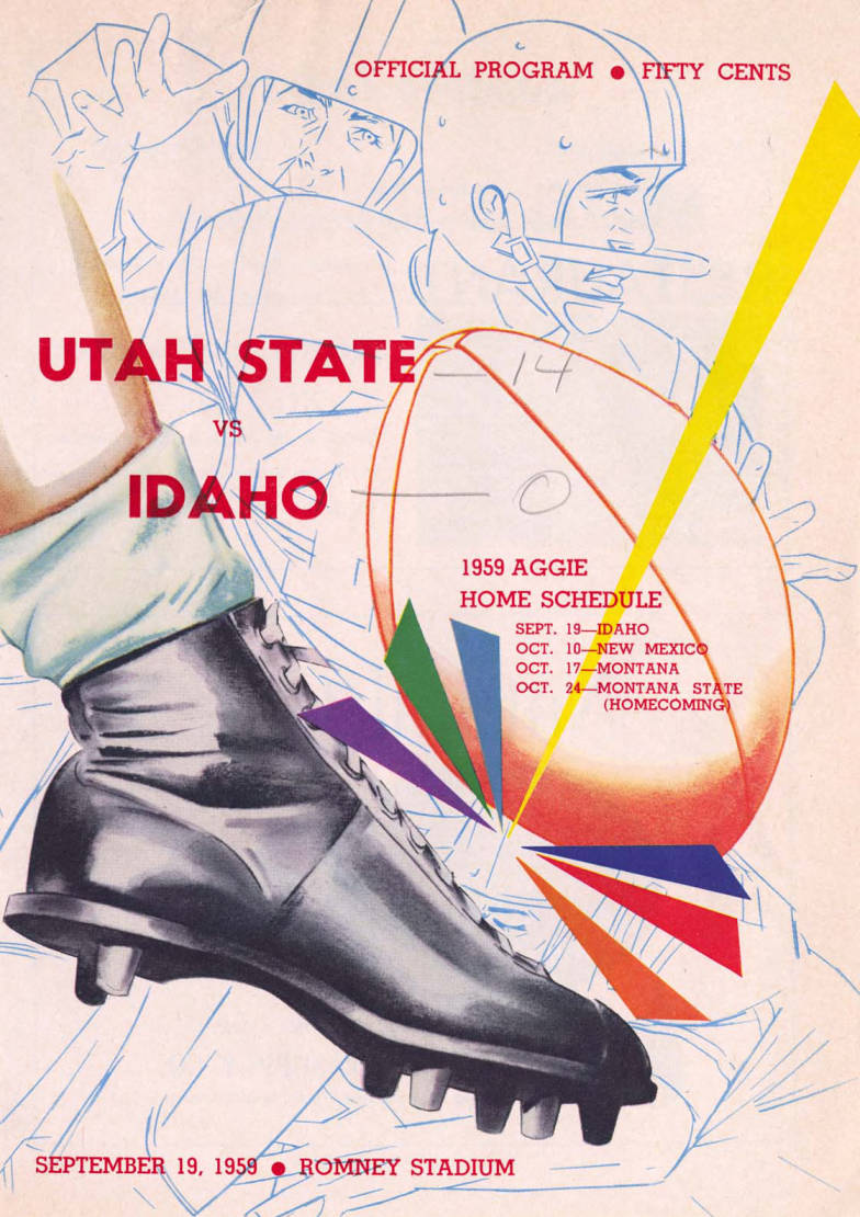 item thumbnail for Football Program: Idaho vs Utah State, 09/19/1959, Neale Stadium, Moscow (Idaho)