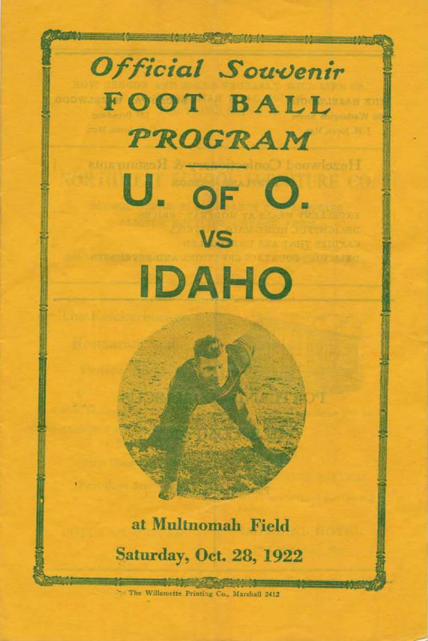 item thumbnail for Football Program: Idaho vs University of Oregon, 10/28/1922, Multnomah Field, Eugene (Oregon)