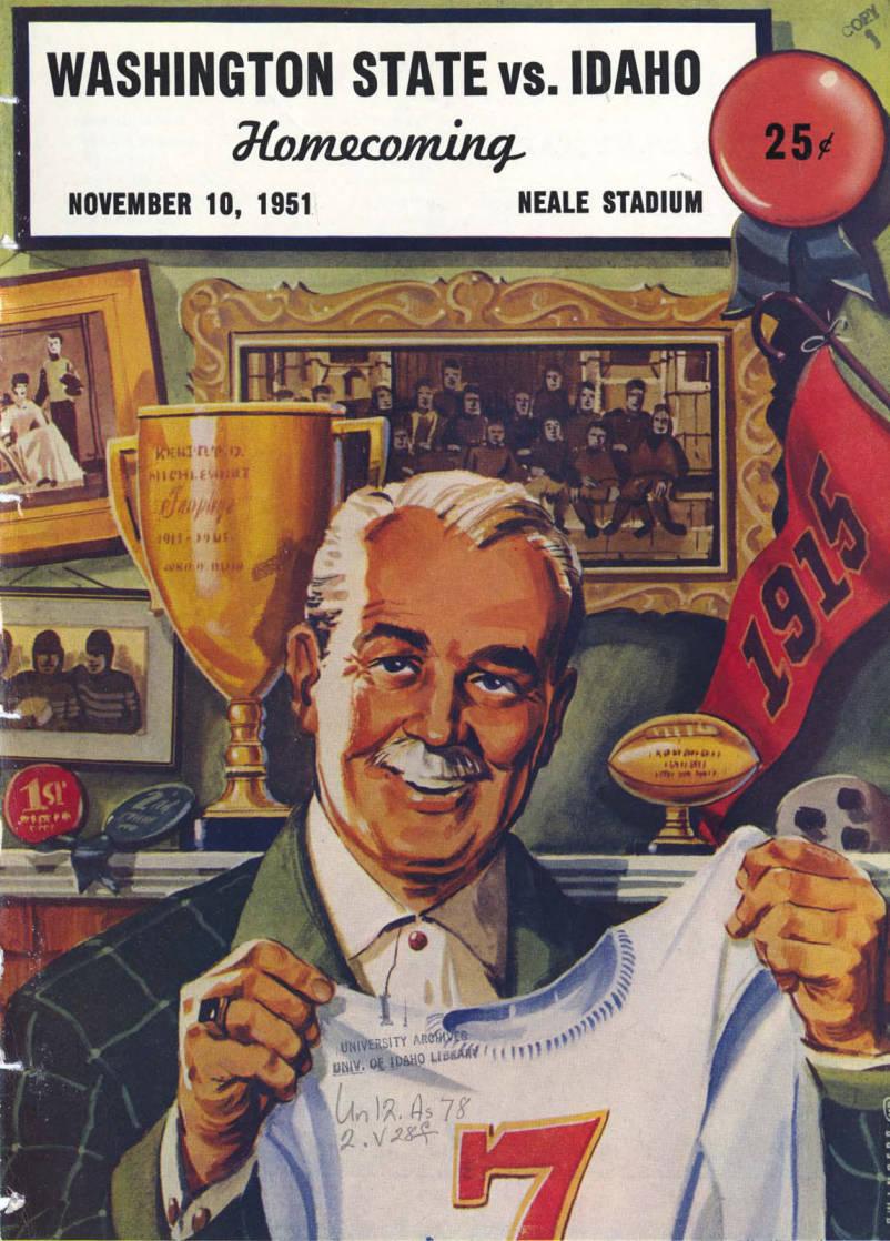 item thumbnail for Football Program: Idaho vs Washington State University, 11/10/1951, Neale Stadium, Moscow (Idaho)