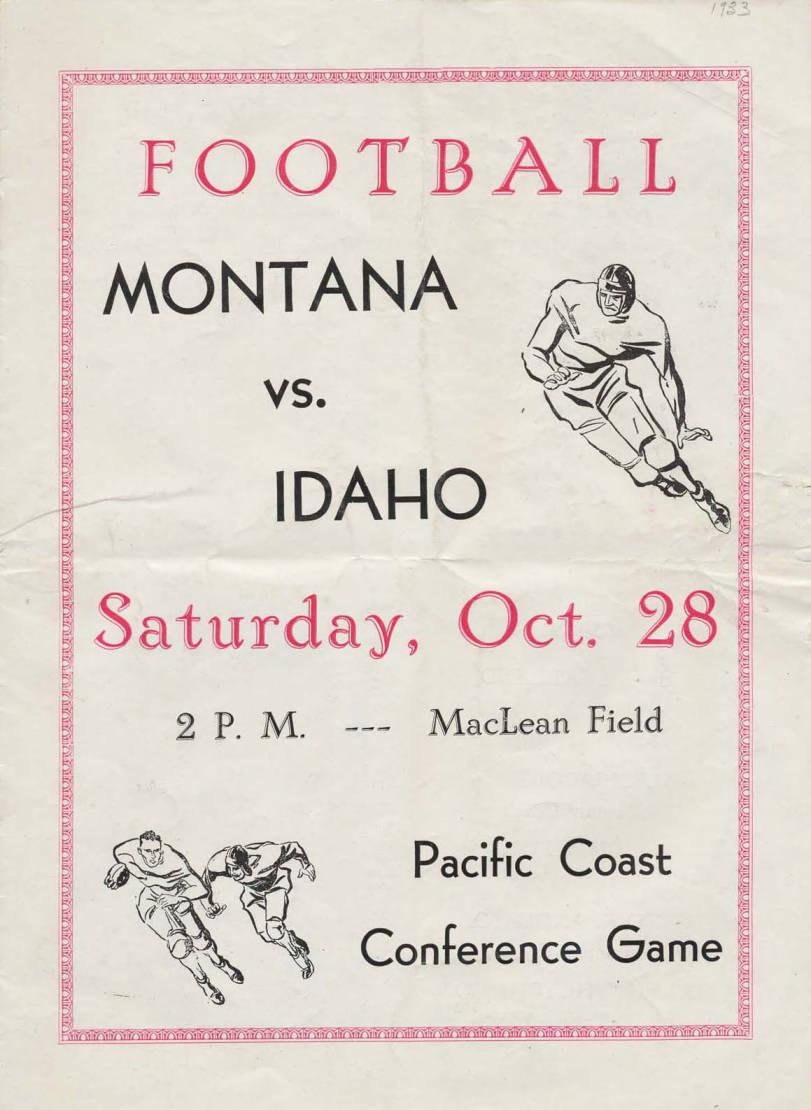 item thumbnail for Football Program: Idaho vs University of Montana, 10/28/1933, MacLean Field, Moscow (Idaho)
