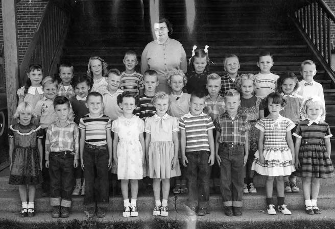 item thumbnail for Bovill Grade School Students Standing Outside the School