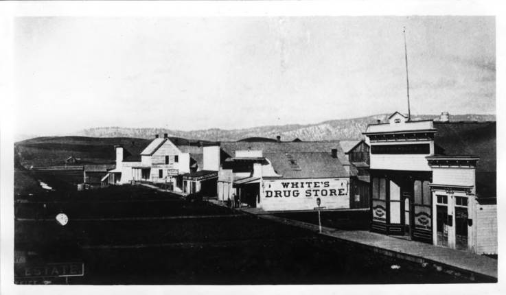 item thumbnail for Looking northeast at corner of First and Main streets in 1885